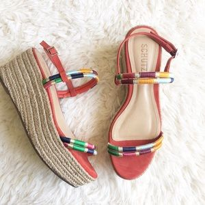 Schutz Platform Multi-color Wedges Sandals